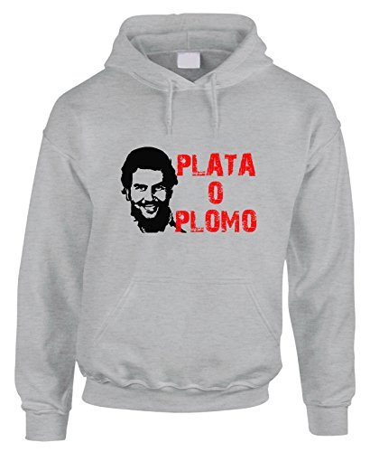 Felpa con cappuccio PABLO ESCOBAR - PLATA O PLOMO - in cotone by Fashwork Grigio