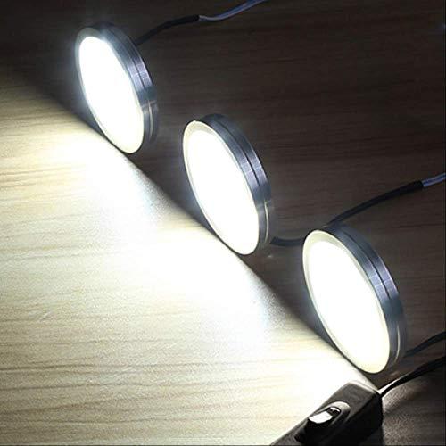 JIA 6 PCS LED unter Kabinett beleuchtet dimmbares DC12V Küche beleuchtet LED Kobold-Lichter für Möbel-Garderobenschrank-Wandschrank-Beleuchtung US-Stecker-Weiß