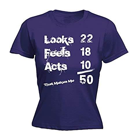 123t Women's Looks 22 Feels 18 Acts 10 That Makes Me 50 Funny Joke Birthday Dad Mum Mom bday b-day FITTED