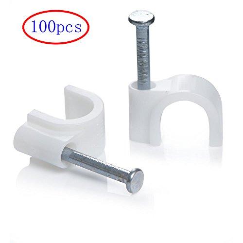 MINGZE Grapas para cables, Clips redondos blancos del alambre del cable 100pcs con el clavo de acero, clip del cable eléctrico, abrazaderas del clavo de la gerencia de la grapa (6mm)