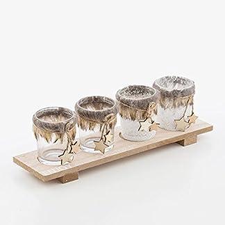 Eurowebb centro de mesa con portavelas (tema Navidad–Idea Decoration y arte de la mesa Fete de fin de año