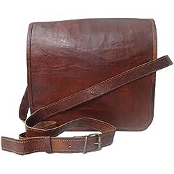 "Madosh, Bolso de aleta crossbody vintage artesanal Bolso de hombro de cuero genuino portátil 11 """