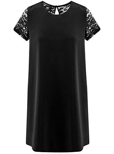oodji Ultra Damen Gerade Geschnittenes Kleid mit Spitzeneinsätzen Schwarz (2900N)