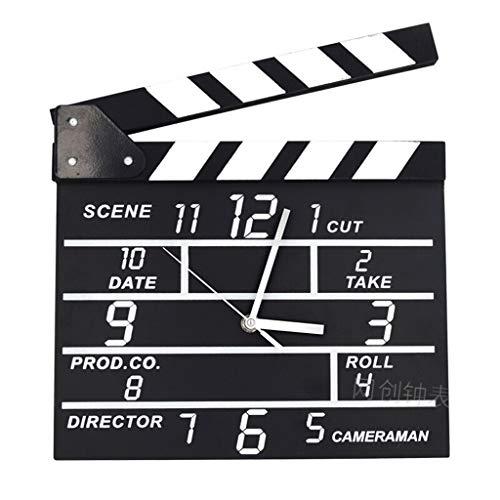 Jue Hölzerne Wanduhr - Movie Director Clock Persönlichkeit Mode Schlafzimmer Home Wanduhr Creative Home Clock Wanddekoration - schwarz