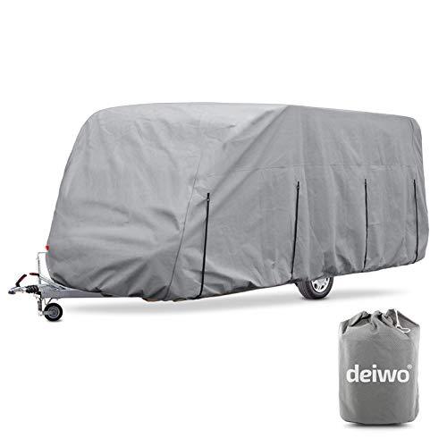 deiwo Wohnwagen Schutzhülle | Größe S - XL | 4 Schicht | 160 g/qm | Winter Schutz (XL 579-640 cm)