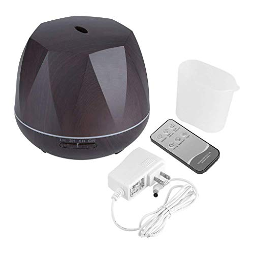 Huhu833 Aroma Diffuser 500 ml Holzmaserung Luftbefeuchter Ultraschall Vernebler, Ultra Leise Diffuser Öle Diffusor mit LED Humidifier Duftlampe für SPA, Yoga, Schlafzimmer, Wohnzimmer,usw. (Schwarz)