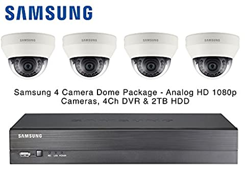 Samsung 4x AHD Analog HD 1080P Dome CCTV Cameras & 4 Channel DVR 2TB HDD Package - 12mm Lens, 12V DC, IR, HDMI /