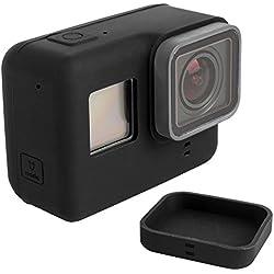 Funda Protectora para GoPro Hero 5 6 Sport Cámara con Tapa de Objetivo, FineGood Soft Cubiertas de Silicona para Cámara de Acción y Lente Hero5 Hero6 - Negro
