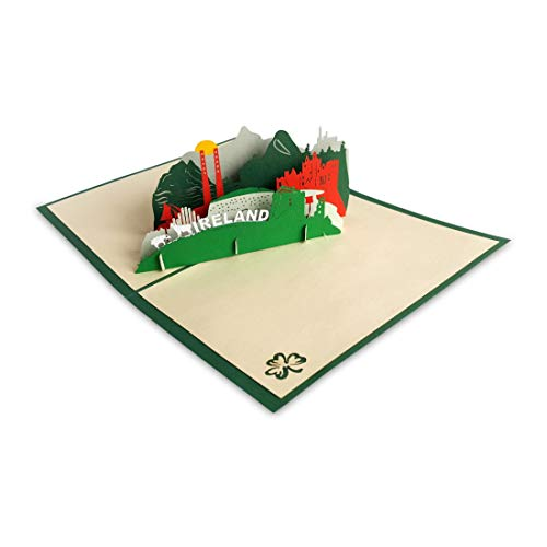 Paper Bear Pop-Up Card with Irish Landmarks and Icons Design and Ireland Text