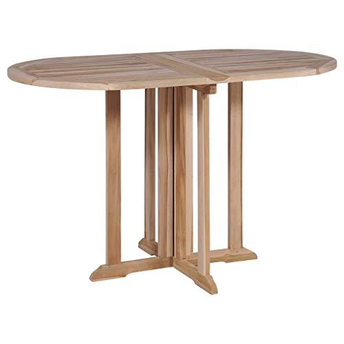 Festnight Table de Salle à Manger Table de Cuisine Pliante Forme de Papillon Teck Massif pour Jardin ou Patio120x70x75 cm