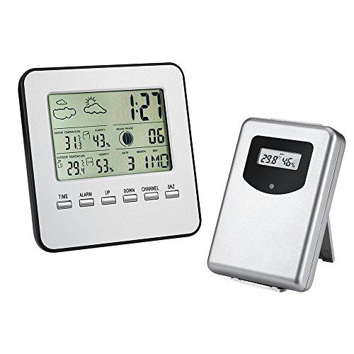 Finoki Funkwetterstation Thermometer Feuchte Temperatur Messinstrumente Wetterstationen Funk Wecker Wetterprognose