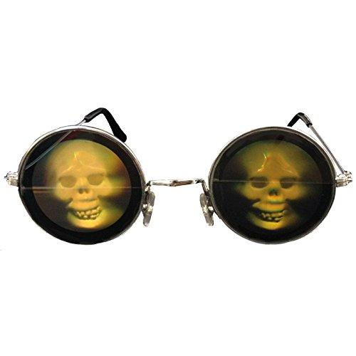 PARTY DISCOUNT Brille Totenkopf Hologramm, 1 - Hologramm Kostüm