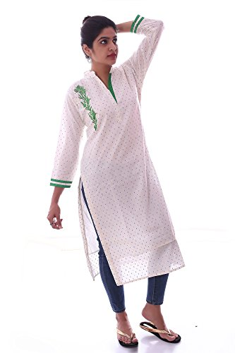 Kieana Women Cotton Kurti With Stand Collar And Embriodery | Designer Trending Casual Party Wear Kurta | Attractive and Beautifull Bollywood Style Kurtis For Woman | Latest Collection Of Premium High Quality Ethnic Wears For Girls Ladies