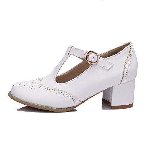 VogueZone009 Femme Verni Rond à Talon Correct Boucle Couleur Unie Chaussures Légeres Blanc