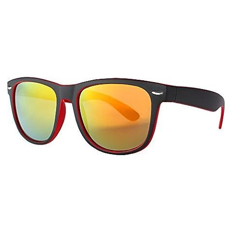 Distressed Hornbrille im Wayfarer Stil Boho Vintage 80er Jahre Sonnenbrille Unisex verspiegelt 2217 - zweifarbig-rot