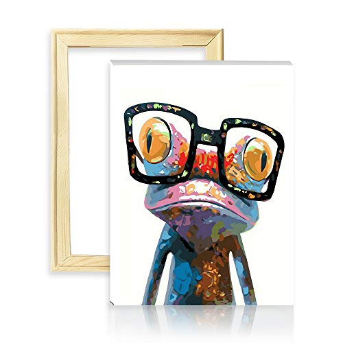 """decalmile Malen Nach Zahlen Kits DIY Leinwand Gemälde für Erwachsene Kinder Anfänger Frosch mit Brille 16\""""X 20\"""" (40 x 50cm, Holzrahmen)"""