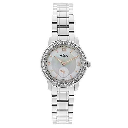 Rotary Women's Quartz Watch with Mother of Pearl Dial Analogue Display and Silver Stainless Steel Bracelet LB02700/41
