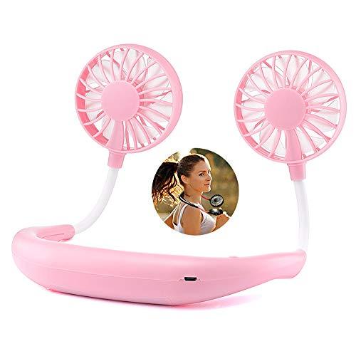 SHENGY Sport-Halslüfter, tragbarer Sommerlüfter, USB aufladbar und 3-Gang-Steuerung, 2000mAh große Kapazität, geeignet für Fitness, Laufen,Pink,1PCS