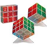 HJXDtech- Pegatinas bastante transparentes cubo mágico 3 Pack Conjunto de 2x2 3x3 y 1x3x3 Cubo 3D Profesional Puzzle velocidad de juguetes educativos para los adultos o los niños