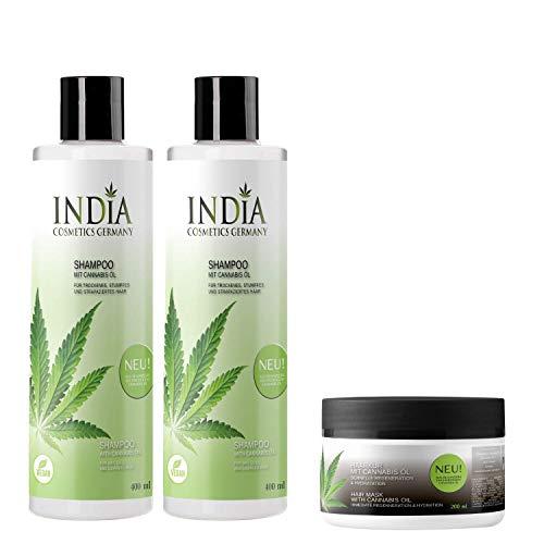 Shampoo im Doppelpack plus gratis Haarkur mit Cannabis Öl in Premiumqualität mit je 400ml XXL Größe plus Haarkur gratis, komplettes Haircare Set im Gesamtwert von 45 Euro!