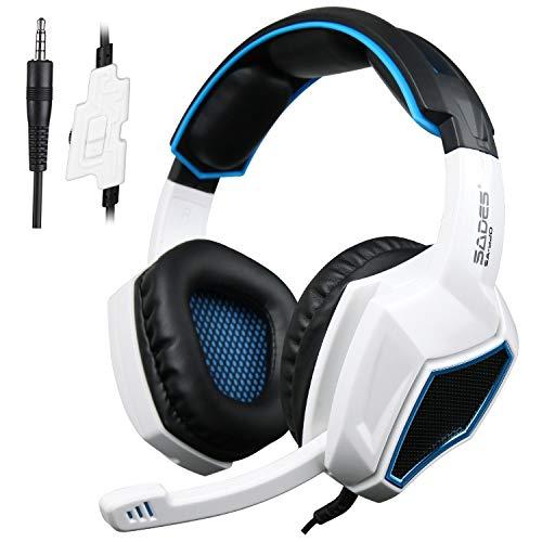PS4 Gaming Kopfhörer, SA920 3.5m über Ohr Gaming Headset mit verstecktem Mikrofon für PC MAC XBOX 360 Tisch in Weiß und Schwarz