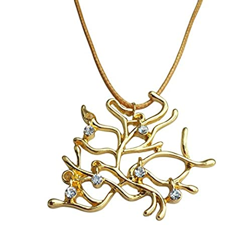 Belle's Gold Tone Rose Tree Pendant Necklace with White Crystals. Gold Colour Cord