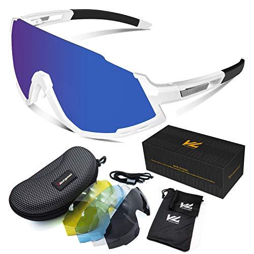 VICTGOAL Fahrradbrille Herren und Damen Sonnenbrille UV400 Sonnenschutz mit 5 Wechselgläsern polarisierte Linse Sportbrille für Laufen Angeln Klettern Radsport Brillen (Weiß)