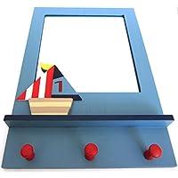Gisela Graham Wooden Ships Boats Nautical Mirror Peg Coat Hook