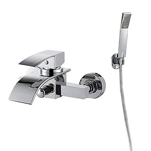 HENGMEI Duschset Regendusche Duscharmatur Wasserfall Armatur Badewanne Wasserhahn Badewannenarmatur edelstahl chrom mit handbrause (Type B)