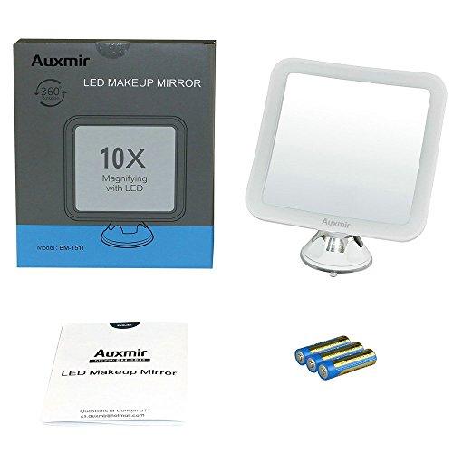 Auxent Kosmetikspiegel LED Beleuchtet mit 10x Vergrößerung und Starkem Saugnapf, 360° Schwenkbar, Make-Up-Spiegel Schminkspiegel mit Blendfreier Beleuchtung für Zuhause und Unterwegs - 9