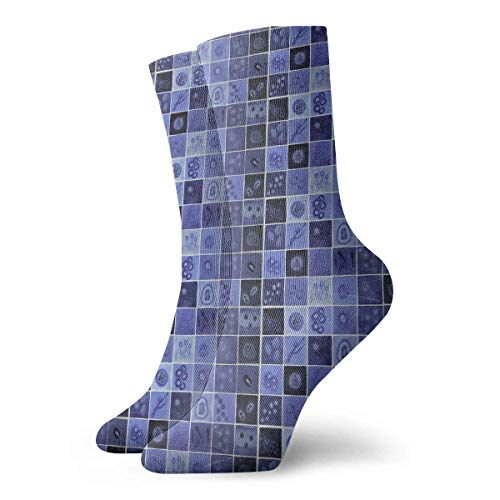 ex Blue Virus Classic Crew Socks Breathable Fantasy Ankle Running Hiking Socks-Weekend Sport Athletic Socks Short Crew Socks 11.8in ()