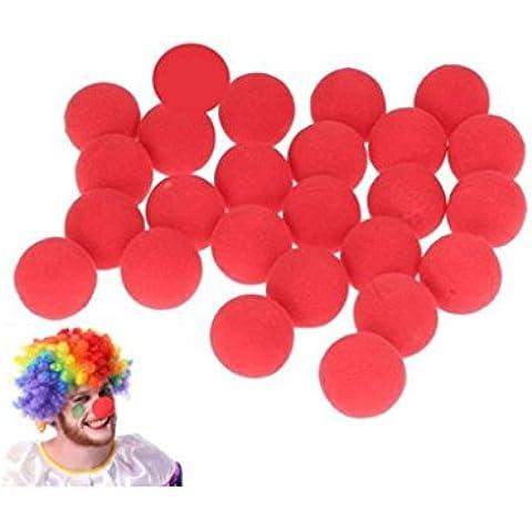 Distinct® 25 PCS mágico de la esponja de la bola roja de la nariz del payaso para el partido de la mascarada de la decoración