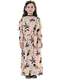 Lanlan Vestido de manga larga elegante niña musulmana Vestido de fiesta lindo traje rendimiento Vestido de