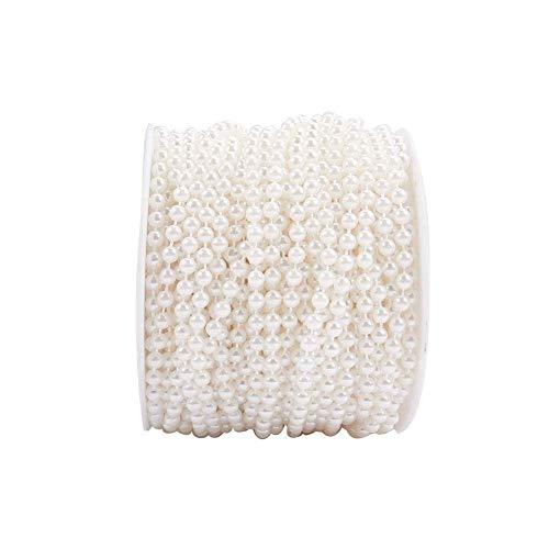 nbeads 1Rolle von 30m Elfenbein Nachahmung Perle String mit Einer Schere für Party Girlande Hochzeit Aufsteller Bridal Bouquet Crafts Tür Vorhang Dekoration