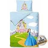 Aminata Kids Prinzessin Bettwäsche 100x135 cm + 40 x 60 cm aus Baumwolle mit Reißverschluss, unsere Kinderbettwäsche mit Princess-Motiv ist weich und kuschelig