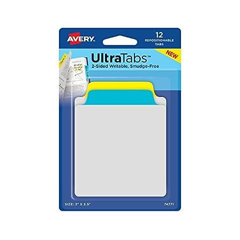 Avery Note Ultra Taben, 7,6x 8,9cm 12wiederverwendbar Taben, two-side beschreibbare, gelb/blau (74771)