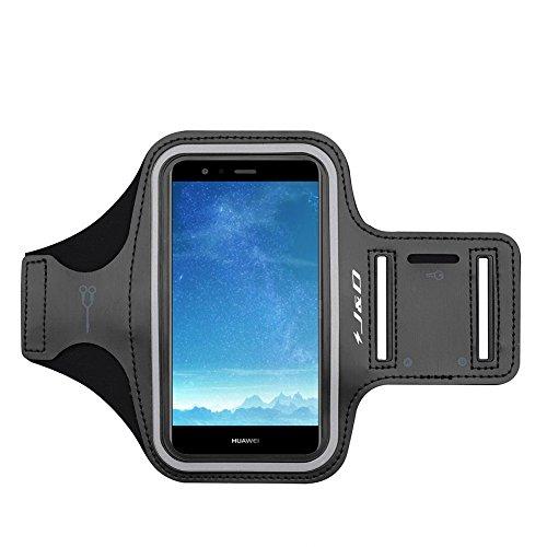 P10 Lite Armband, J&D Sport-Armband für Huawei P10 Lite, zusätzliche Tasche für Schlüssel, perfekte Kopfhörer-Verbindung für unterwegs - Schwarz