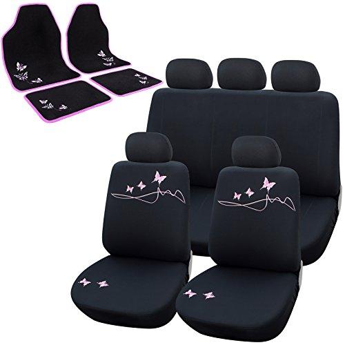 Preisvergleich Produktbild WOLTU AS7304+7141 Autositzbezug Sitzbezüge Schonbezug Schonbezüge, mit Fußmatten, 4 tlg. Autoteppich, Universal passend, Sitzschoner mit Butterfly, Schwarz/Rosa