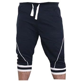 Herren Schorts Sweat-shorts Unisex Caprihose (XL, Marine)