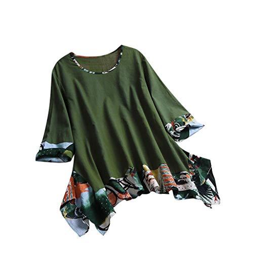 3/4 Ärmel Vintage-pullover Top (Tops Shirt Damen Bluse Xjp Frauen Ethnischer Gedruckt 3/4 Ärmel Rundhals Vintage Unregelmäßig T-Shirt Mode Lose Pullover Oberteile Hemd(XL, Grün))