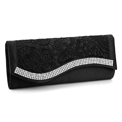Abendtasche Brauttasche mit Strasse Spitze Satin Ketten Clutch Bag Bling?schwarz (Clutch Colorblock)