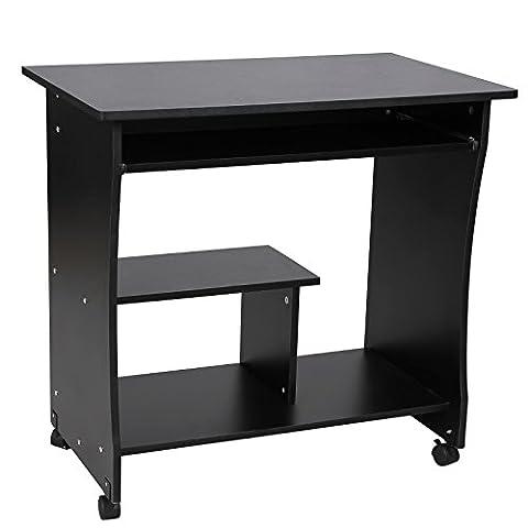 Songmics Bureau Informatique Roulant / Table Informatique Meuble de Bureau pour Ordinateur noir LCD858B