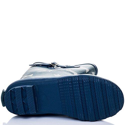 SPYLOVEBUY IGLOO Femmes Ajustable Boucle Plates Bottes de Pluie Bleu Pug