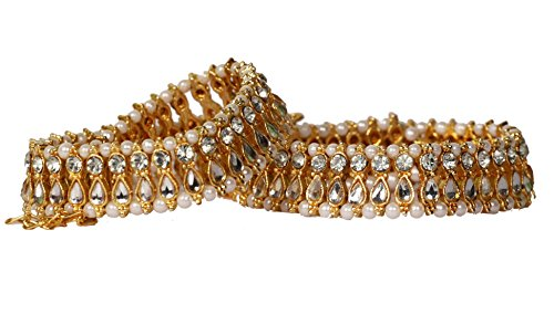 Antique Payal Anklet Pajeb for Women / Girls with Cute Pearl and Beads golden Design (2 Anklets)  available at amazon for Rs.199