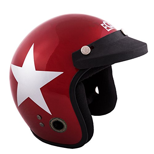 Autofy Habsolite Ecco Star Glossy Front Open Helmet (Red and Grey, M)
