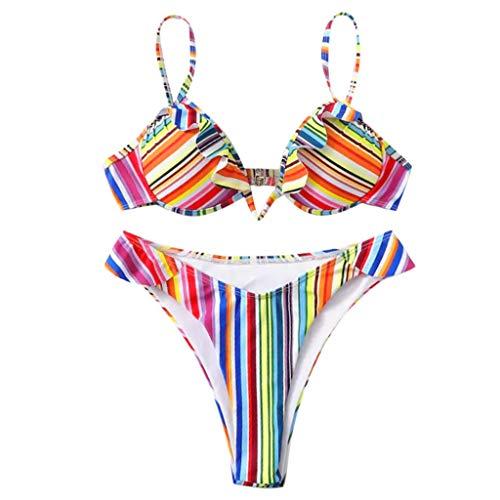 KPILP Maillots Deux Pièces Sexy Femme Bikini, Femme Printemps et été Couleur Rayure Impression Sling Lanière Bikini Femme Sexy Confortable Maillots de Bain 2 Pièces