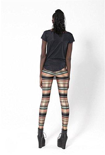 Bestland Damen Legging Tattoo Leggins Sterne Print Style Comic Elastische Stretch Strumpfhose Hüfthose Skinny Hose Enge #18