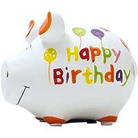 KCG Spardose Schwein Happy Birthday Keramik klein