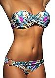 ALZORA Twist Push Up Bandeau Bikini Set Damen Pushup Badeanzug viele Farben und Größen (L, Leopardenmuster)
