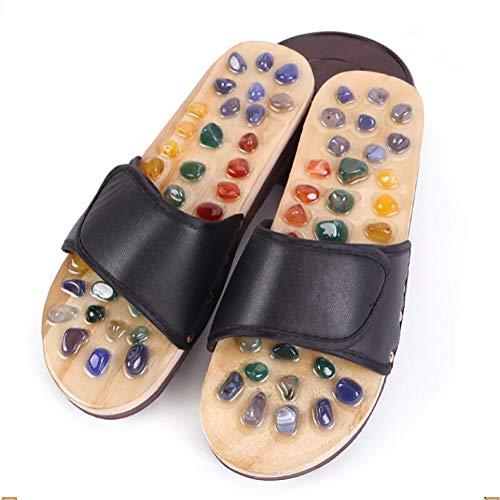 SHANGLY Fuß Massage Hausschuhe Frauen/Männer Gesundheitsvorsorge Kieselstein Sandalen Reflexzonenmassage Füße Alten Akupunktur Massagegerät Schuhe,Black,38